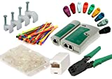 MutecPower Kit Herramientas de Cable de Red. Probador de Cable + alicates + 50 Conectores RJ45 + Pelacables.