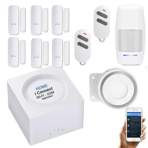 Alarme de Maison sans Fil - WI-FI/GSM - APP Française - 2 Sirènes puissantes - 6 Détecteurs d'ouverture - 1 de Mvt - 2 Téls - 8 Stickers - Alarme de Maison