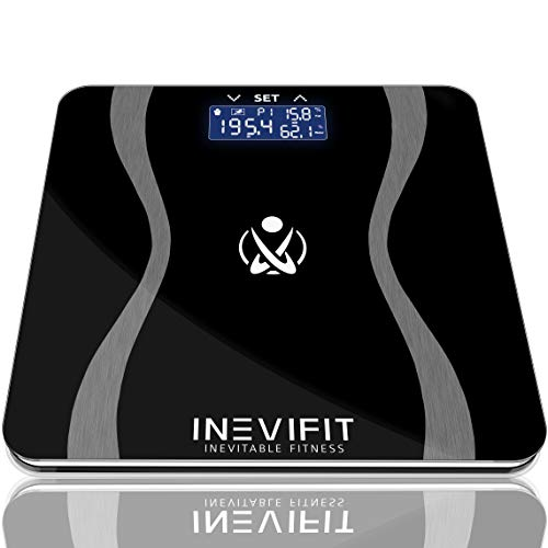 INEVIFIT Body-Analyzer Scale, Highly Accurate Digital Bathroom Body Composition Analyzer, Measures Weight, Body Fat, Water, Muscle & Bone Mass for 10 Users. Includes a 5-Year Warranty
