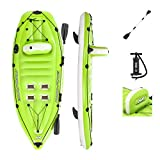 Hydro-Force Koracle Inflatable Kayak Set | Includes Double-Sided Paddle, Built-In Oar Clasps, Fishing Rod Holders, Storage Compartments | Convenient & Portable Kayak w/Hand Pump