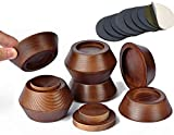 FASONLA Bed Risers (Set of 8) Furniture Risers Lifts Height 1', 2', 3' or 4', Solid Natural Wood Risers for Bed, Furniture, Table, Sofa, Chair Risers with Non-Slip Recessed Hole (Walnut Color, 1 Inch)