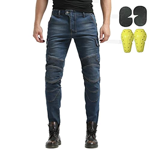 CBBI-WCCI Uomo Moto Biker Jeans Rinforzato Protezione Pantaloni Linning Includono Armature Motorcycle Pants (Blu, 32W / 32L)