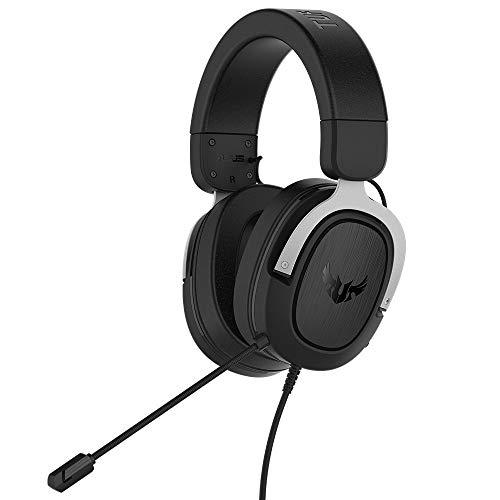 Asus TUF Gaming H3 Casque compatible avec PC, Mac, PS4, Nintendo Switch, Xbox One et téléphones Portables avec Son Surround 7.1, Basses puissantes, Design léger, Argent