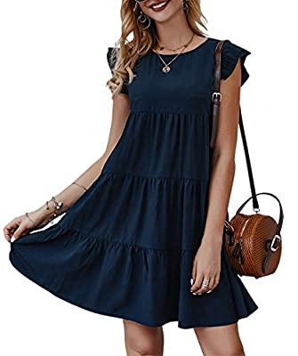 Feature: Women Mini Dress/ Sleeveless Dress/ Cap Sleeves/ Ruffle armhole hem/ Round Neck/ Crew Neck/ Knee Length Dress/ Loose Fit Dress/ Ruched Skirt/ Pleated Skirt/ Solid Dress/ Size Selection: S,M,L,XL/ Color Selection: Black, Navy, Wine Red, White...