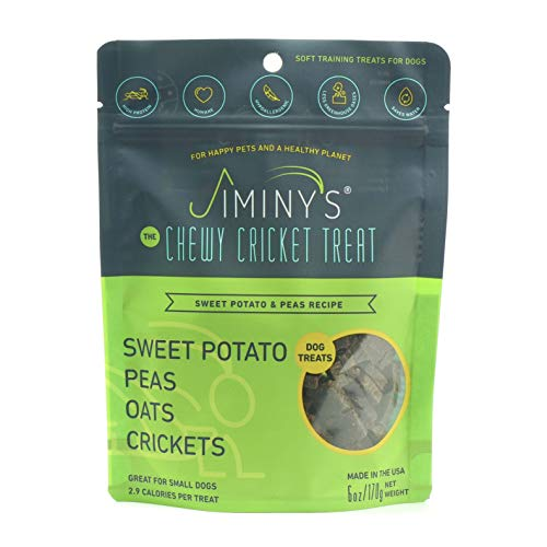 Jiminy's Cricket Protein Sweet Potato and Pea Soft & Chewy Dog Training Treats | 100% Made in The USA | Gluten-Free | Sustainable | Limited Ingredients | High Protein | Hypoallergenic