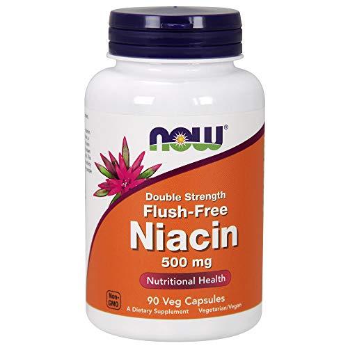 Now Foods, Nicotinsäure ohne Flusheffekt, doppelte Stärke, 500 mg, 90 vegetarische Kapseln, sojafrei, glutenfrei