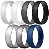 ThunderFit Silicone Rings Wedding Bands for Men & Women 6mm Wide - 7 Pack