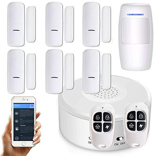 Nouveau - APP Version Française - WI-FI - Alarme de Maison sans Fil -1 Sirène - 6 Détecteurs d'Ouverture (Nouveaux codages numériques) - 1 de Mouvement - 2 Tél - 8 Autocollants - Alarme de Porte