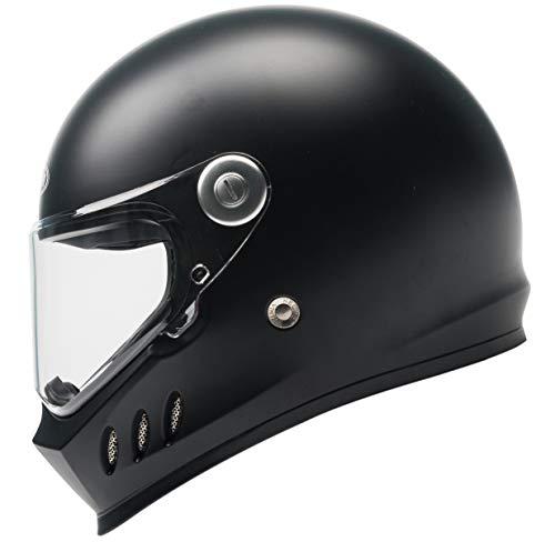 Motorrad-Integralhelm DOT- und ECE-zugelassen - YEMA YM-833 Motorrad-Moped-Straßenrad-Rennhelm mit Klarem Visier für Erwachsene, Männer und Frauen - Schwarz Matt- XL