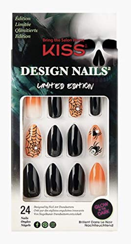 Kiss Medium Length Almond Shape Black & Orange Nails 82650 Goodie Bags (Spiders & Spider Webs) Halloween Limited Edition