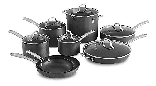 Calphalon Classic Nonstick Hard-Anodized 14-Piece Cookware Set, Grey