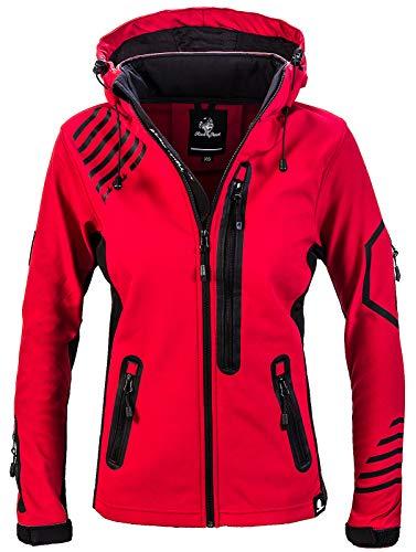 Rock Creek Damen Softshell Jacke Windbreaker Regenjacke Übergangsjacke Softshelljacke Damenjacke Regenmantel Outdoorjacke Kapuze D-402 Rot L