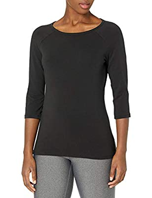 Super soft cotton-rich fabric moves with you for all-day ease Raglan 3/4 length sleeves Wide, feminine neckline frames and flatters your face All the comfort of Hanes with our famous tag less collar