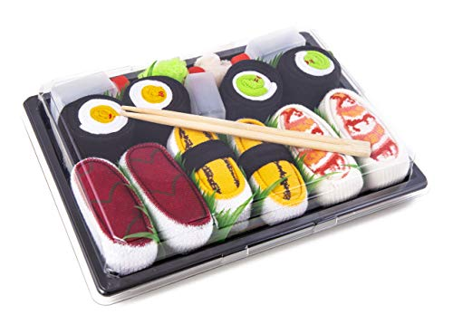 Rainbow Socks - Donna Uomo - Calzini Sushi Nigiri Shrimp Tonno Tamago 2xMaki - 5 Paia - Taglia 36-40