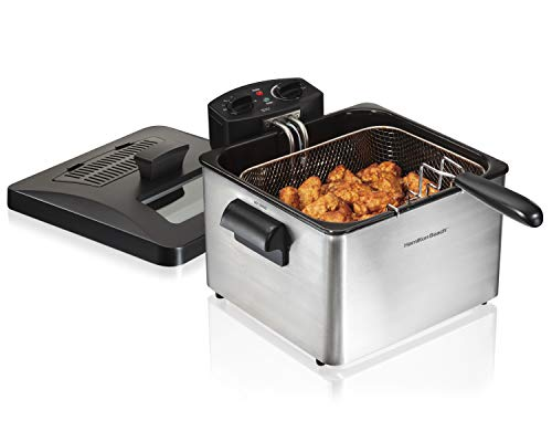 Hamilton Beach Triple Basket Electric Deep Fryer, 19 Cups / 4.5 Liters Oil Capacity, Lid with View Window, Professional Grade, 1800 Watts, Stainless Steel (35034)