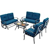 Oakmont 5 Pieces(6 Seats) Outdoor Metal Furniture Sets Patio Conversation Set Glider, 2 Single Chairs, Loveseat with Coffee Table, Wrought Iron Look, Peacock Blue