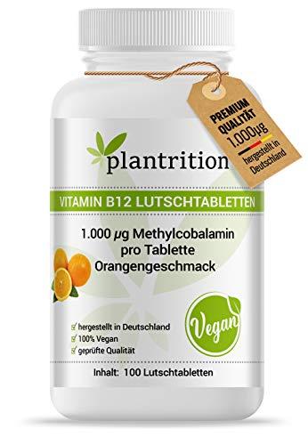 plantrition Vitamin B12 Methylcobalamin 100 Vegane Lutschtabletten hochdosiert Orangengeschmack - Qualitätsprodukt hergestellt in DE