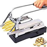 French Fry Potato Cutter Slicer with No-Slip Suction Base 25 Holes Large Fries Easy Slicing Stainless Steel Potato Cutter Chipper for French Fries Vegetables Carrot Cucumber Potato French Fries Cutter