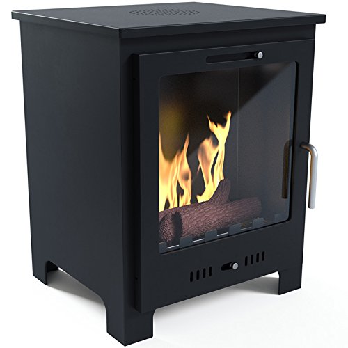 Woodburner Style Malvern Bio-Ethanol Real Flame Fireplace With 6 x 1L Bottle of Fuel, Stainless Steel Rim ,Without Needing a Chimney or Flue