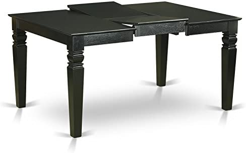 """7Pc Rectangular 42/60"""" Dinette Table With 18 In Leaf And 6 Parson Chair With Black Leg And Pu Leather Color Baked Bean"""
