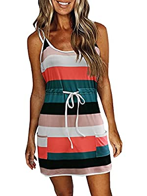 ❤Material: Casual striped sleeveless spaghetti dresses ,bohemian summer casual dress for women is made of polyester. Breathable, soft, skin-friendly, and comfortable. ❤Design: Sheath dress with two side pockets, Tie-up color block dress, about knee l...