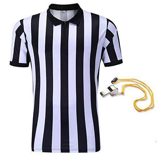 SHINESTONE - Camisa de árbitro para Hombre, de Baloncesto, fútbol, Deportiva, árbitro, Manga Corta, Absorbe la Humedad y se Seca rápido, Deportes al Aire Libre, Color Black&White, tamaño Extra-Large