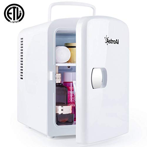 AstroAI Mini Fridge 4 Liter/6 Can AC/DC Portable Thermoelectric Cooler and Warmer for Skincare, Foods, Medications, Home and Travel (White)