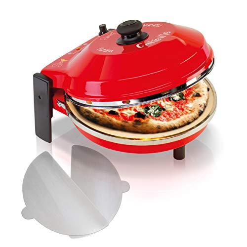 SPICE - Forno Pizza DIAVOLA e CALIENTE con pietra refrattaria 400 gradi Resistenza circolare (Pietra Refr. 32 CM + 2 Palette Alluminio)