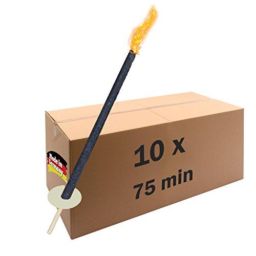 10 Fackeln Brenndauer 60 -75 min Wachsfackeln für den Fackellauf oder als Gartenfackel