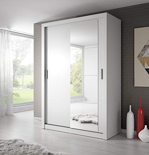 Schwebetürenschrank Kleiderschrank AR-04 ARTI Garderobenschrank mit Spiegel Schiebetürenschrank (Weiß Matt)