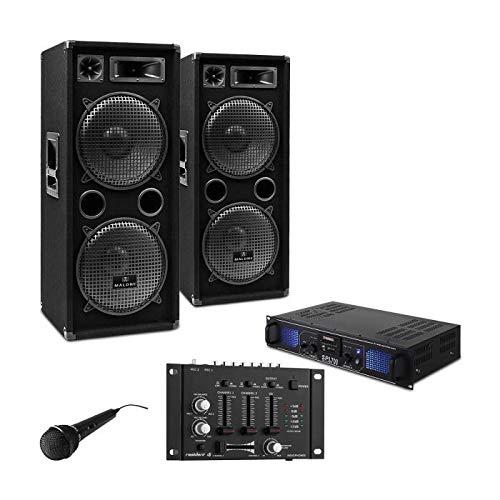 DJ-27 PA-Komplett-SET/lautstarkes Musikanlage mit 2000 Watt PA-Boxen & Verstärker inkl. Kabel-Set + Mikrofon (für bis zu 250 Personen, USB/SD-Slot für MP3-Datenträger,4x 30cm Subwoofer)