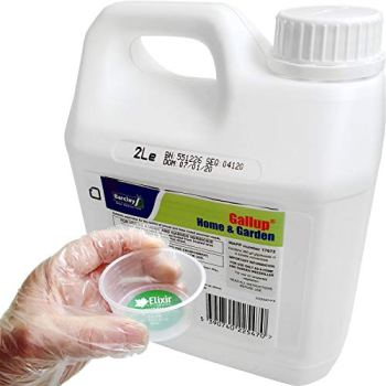 Elixir Gardens Barclay Gallup Home & Garden Glyphosate Commercial Strength Weed killer treats upto 3332 sq/m 2Lt Bottle + Complimentary Measuring Cup and Gloves