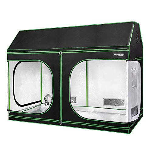 VIVOSUN 96'x48'x72' Indoor Grow Tent, Roof Cube Tent with Observation Window and Floor Tray for Plant Growing