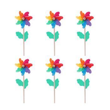 Hemoton Lot de 6 moulins à vent en plastique - 12 cm - Avec poignée en bois - Pour le jardin, la pelouse, la cour, les fêtes - Pour l'extérieur