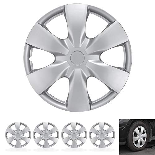 """BDK Wheel Guards – (4 Pack) Hubcaps for Car Accessories Wheel Covers Snap Clip-On Auto Tire Rim Replacement for 15 inch Wheels 15"""" Hub Caps (Triangular Spokes)"""