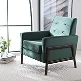 Safavieh Home Collection Roald Velvet Sofa Accent Club Chair ACH6209B, Malachite Green/Antique Coffee