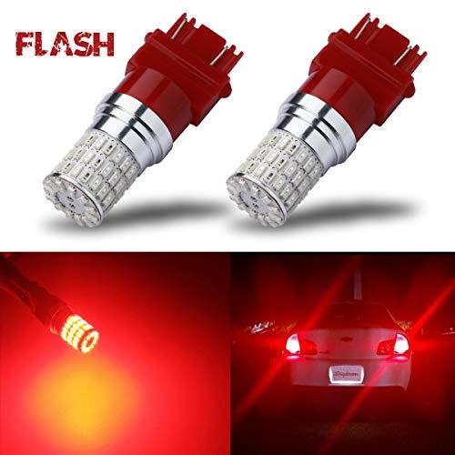 iBrightstar Newest 9-30V Flashing Strobe Blinking Brake Lights 3157 3057 3156 3056 LED Bulbs replacement for Tail Brake Stop Lights, Brilliant Red