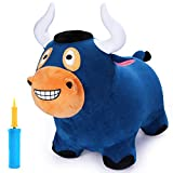 iPlay, iLearn Bouncy Bull Plush Riding Hopper Horse, Inflatable Hopping Farm Animals, Outdoor Ride on Toys, Toddler Bouncer Jumping Gifts with Pump for 3, 4, 5 Year Olds, Kids, Boys, Girls