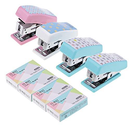 4Pz Portatile Mini Desktop Cucitrice, AUHOTA Piccolo Mano Spillatrice casa Ufficio Cucitrice con 640  4 Graffette, Moda Cucitrici Manuali Cancelleria Regalo per Bambini Studenti (Multicolore)
