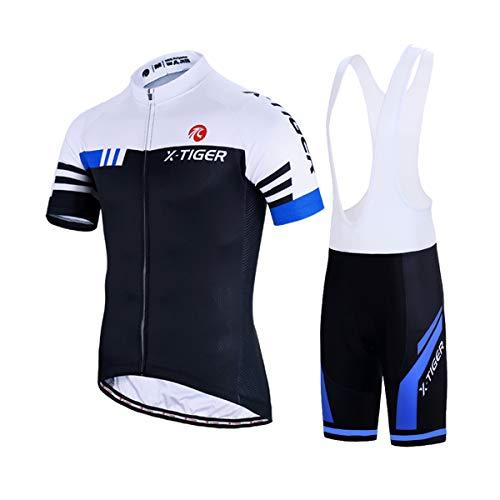 X-TIGER Herren Fahrradtrikot, kurzärmliges Set mit 5D-Gel-gepolsterten Shorts, Fahrradbekleidung Set für Mountainbikes, (Blau und weiß, XL)