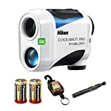Nikon Coolshot Pro Stabilized Golf Rangefinder with 2 Spare Batteries & Lens Pen & Retractable Rangefinder Tether Bundle