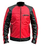 Mens Retro Quilted Motorcycle Cafe Racer Red Black Motorbike Leather Jacket