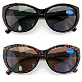 2 Pairs Women Bifocal Reading Sunglasses Reader Glasses Cateye Vintage Jackie Oval (1 Black 1 Tortoise, 1.50)
