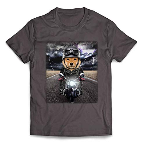 Fox Republic【仔犬の 柴犬 ドッグ 犬 いぬ バイク ヘルメット】 メンズ 半袖 Tシャツ チャコール XL