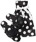Victoria's Secret Signature Satin Slippers Black White Polka Dot with Faux Fur Large 9-10
