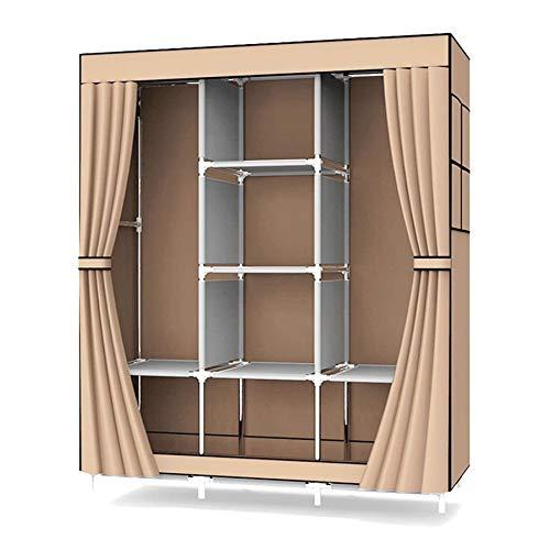 UDEAR Canvas Bedroom Armadio Scaffale Scaffale Armadio Appendiabiti Marrone 128 * 45 * 170 CM