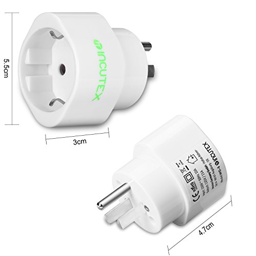 Incutex 2X USA Reiseadapter US Reisestecker EU USA Adapter travel Plug usa Typ B Steckdosenadapter USA Kanada, weiß