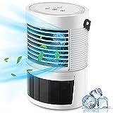 PREUP Mini Condizionatore Portatile, Raffreddatore d'aria 3 in 1 Ventola Umidificatore Risparmio Energetico e Silenzioso, 3 Velocità Regolabili, 7 Colori LED per Camera da Letto, Casa, Ufficio