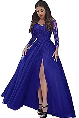 ♥ DRESS DETAIL: The Soft Tulle Prom Dresses, Long Sleeves Low V-Neck neckline, Floor-Length Backless Pageant Dress,Foral Lace Appliques, A-Line,with Train Corset Adjust to the most suitable size,with Built-in bra ♥ SIZE ATTENTION:Please check the siz...
