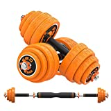 2 in 1 Dumbbell & Barbell Set,30kg Adjustable Dumbells Weights Set, Electroplated Cast Iron Material with Rubber Cover to Protect The Floor Perfect for Home Gym Exercise and Strength Training (66LB)